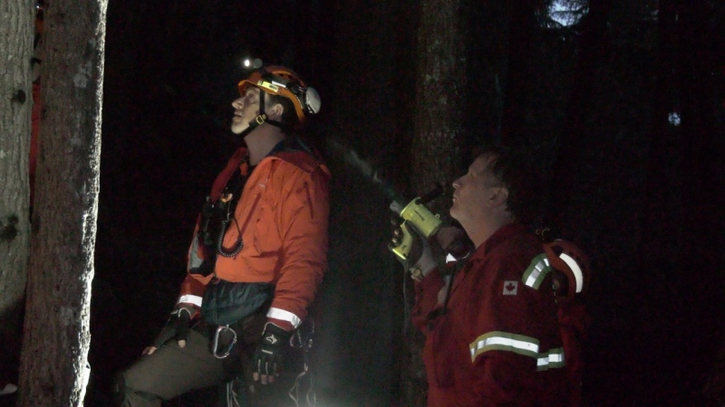 Rescuers say a man is lucky after becoming trapped on a cliff ledge near Comox Lake.
