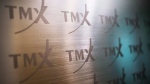 The TMX Group logo, home of the TSX, is shown in Toronto on June 28, 2013. THE CANADIAN PRESS/Aaron Vincent Elkaim