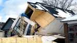 A home that collapsed in Toronto on Thursday afternoon is seen. (CTV News Toronto / Peter Muscat)