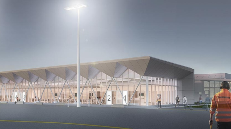 The airport expansion first began construction in April 2018: (Photo rendering / Nanaimo Airport YCD)