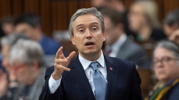 Foreign Affairs Minister Fran?ois-Philippe Champagne responds to a question during Question Period in the House of Commons in Ottawa, Thursday, Feb. 27, 2020. THE CANADIAN PRESS/Adrian Wyld