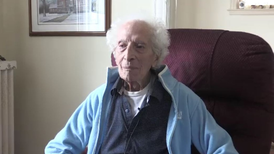 Fred Kondal, who is turning 100 years old, speaks from his home in St. Thomas, Ont. on Thursday, Feb. 27, 2020. (Sean Irvine / CTV London)