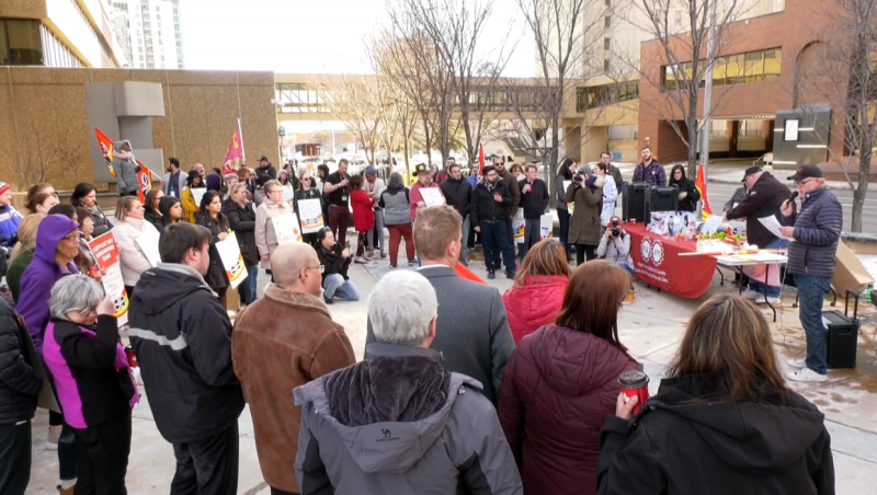 A rally was held Thursday to mark four years of problems with the Phoenix Pay System.