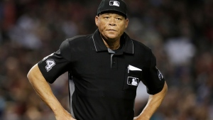 In this June 2, 2018, file photo, Major League baseball umpire Kerwin Danley (44) is shown during the first inning of a baseball game between the Arizona Diamondbacks and the Miami Marlins in Phoenix. (AP Photo/Rick Scuteri, File)