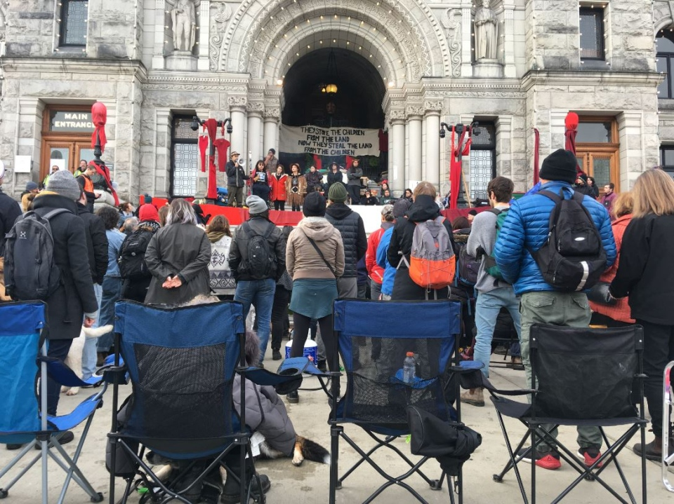 A protest in support of Wet'suwet'en hereditary chiefs on the grounds of B.C.'s legislature continue on to its fourth day Thursday: Feb. 27, 2020 (CTV News)