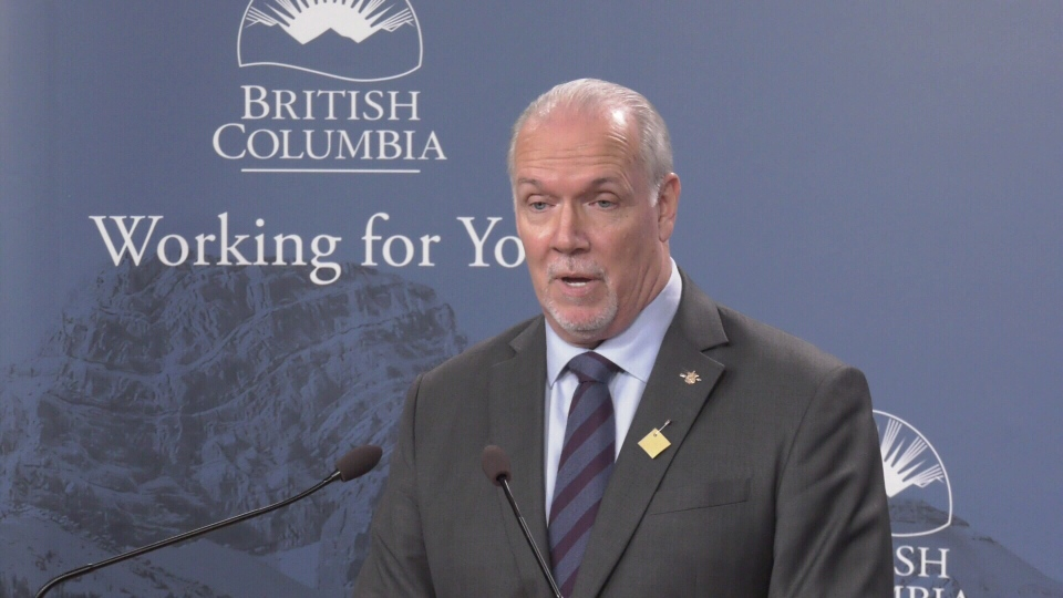 B.C. Premier John Horgan speaks to media at the B.C. legislature on Feb. 27, 2020. (CTV News)