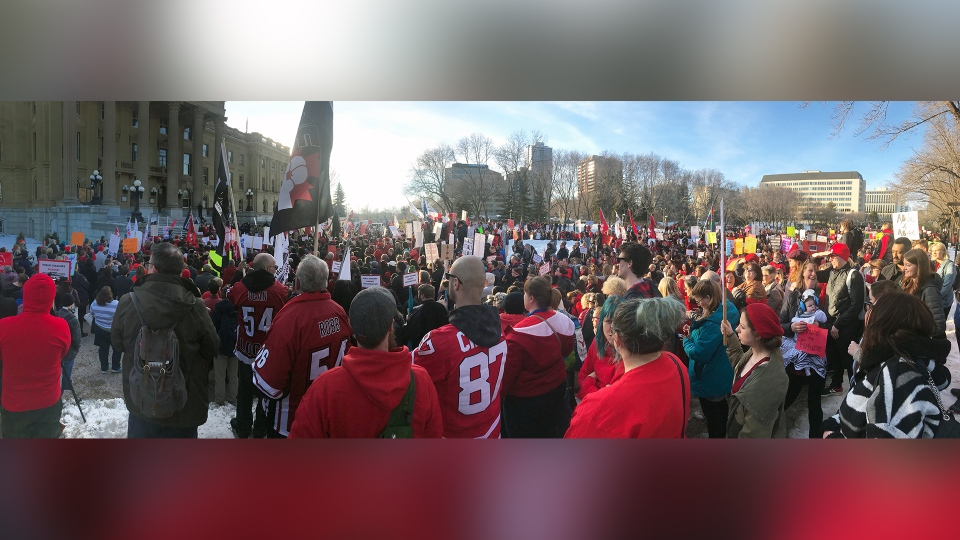 Protest in front of the Alberta Legislature on budget day 2020. (Nicole Weisberg/CTV News Edmonton)