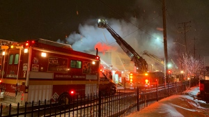 Ottawa Firefighters battle a blaze on Montreal Road Feb. 27, 2020 (Saron Fanel / CTV News Ottawa)