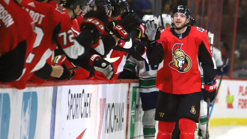Ottawa Senators right wing Bobby Ryan (9) celebrates his goal against the Vancouver Canucks during first period NHL hockey action in Ottawa on Thursday, February 27, 2020. THE CANADIAN PRESS/Fred Chartrand