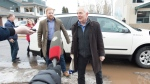 B.C. Indigenous Relations Minister Scott Fraser arrives at the Wet'suwet'en offices where he and Minister of Crown-Indigenous Relations Carolyn Bennett will meet with hereditary chiefs in Smithers, B.C., Thursday, February 27, 2020. THE CANADIAN PRESS/Jonathan Hayward