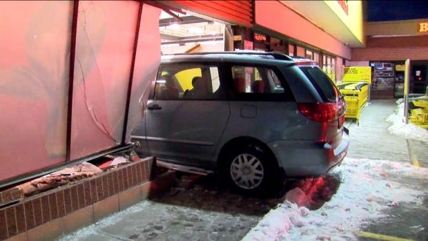 A van crashed through the front of a No Frills