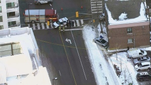 Emergency vehicles are seen responding to a crash in North York Friday morning. (CTV News Toronto's Chopper)