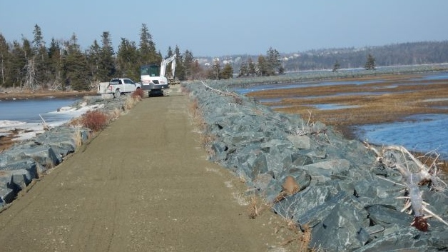 Crews do repair work to the Salt Marsh Trail in Cole Habour on Monday, Feb. 24, 2020. (Photo: Michael McFadden/Cole Harbour Parks and Trails Association)