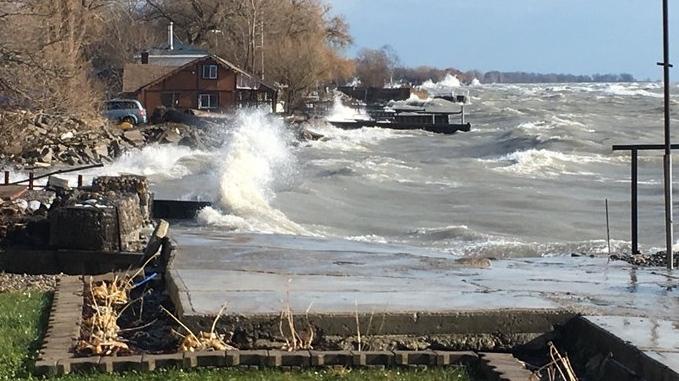 Waves Erie Shore Drive dike