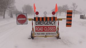 A number of roads are closed in Midwestern Ontario due to blizzard conditions on Friday, Feb. 28, 2020. (Scott Miller / CTV London)