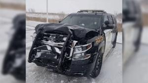 An damaged OPP cruiser is seen after it was struck near Tiverton, Ont. on Friday, Feb. 28, 2020. (@OPP_WR / Twitter)