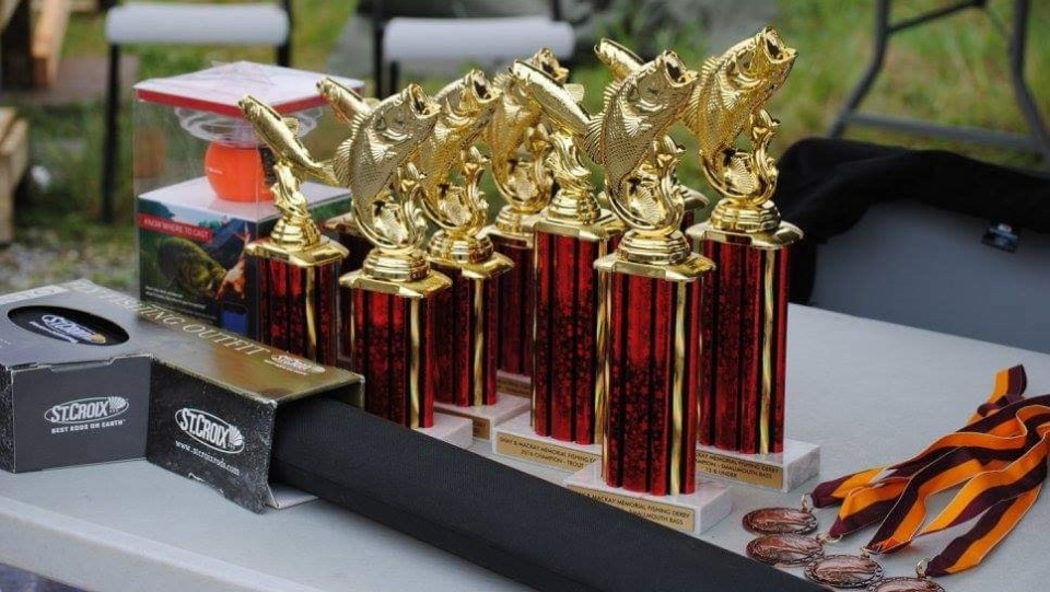 Shay and MacKay Memorial Fishing Derby trophies