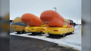 Two Oscar Mayer Wienermobiles were posted for sale in Calgary on Kijiji on Feb. 27, 2020. According to the owner of the phone numbers attached to the ad, the listing was fictitious. (Kijiji)