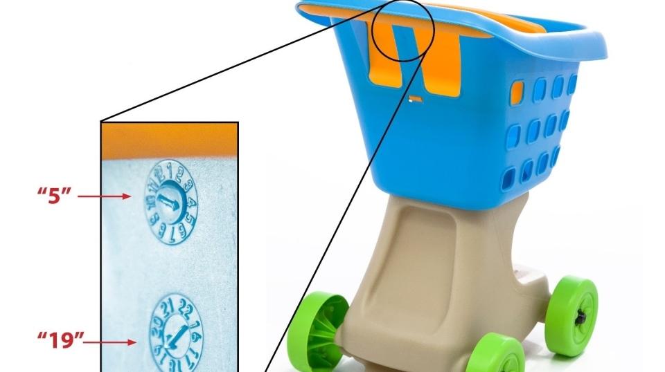 Little Helper's blue shopping cart