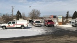 Investigators were on scene at a Red Deer County mobile home park on Feb. 28, hour after a fire in three homes killed one child and injured four others.