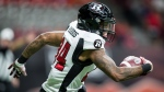 Ottawa Redblacks' R.J. Harris runs with the ball after making a reception during the first half of a CFL football game against the B.C. Lions in Vancouver, on Friday September 13, 2019. THE CANADIAN PRESS/Darryl Dyck