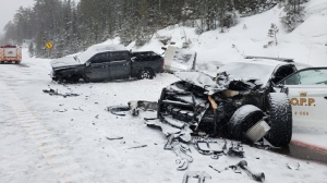 Crash on Hwy 11 in Temagami involving OPP cruiser. Feb. 27/20 (OPP)