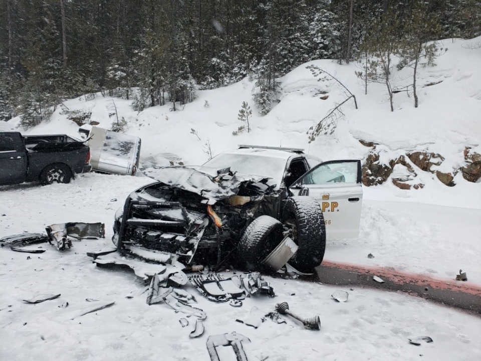 OPP officer was treated for non-life threatening injuries sustained in crash with a pick-up truck and transport on Hwy 11 in Temagami, Feb. 28/20 (OPP)