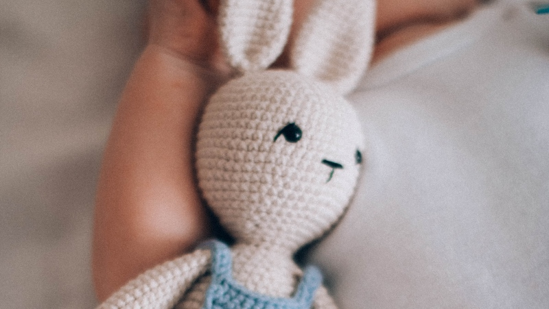 A stock image of a stuffed bunny. (Pexels)