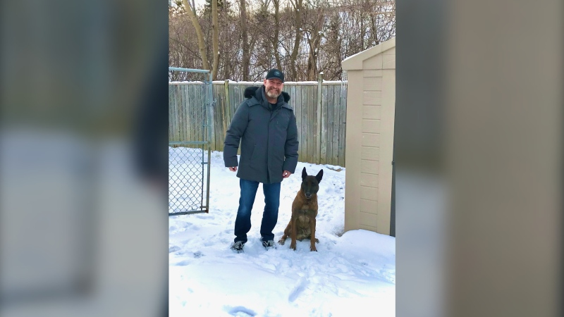 Sgt. Rob Wilson pictured with retired K9 officer, Vegas, Feb. 27, 2020 (Rob Wilson)