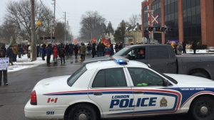 Protesters block the rail line along Waterloo Street in London, Ont. on Friday, Feb. 28, 2020. (Bryan Bicknell / CTV London)