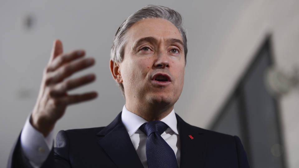 In this file photo, Minister of Foreign Affairs Francois-Philippe Champagne speaks to reporters in Addis Ababa, Ethiopia on Sunday, Feb. 9, 2020. THE CANADIAN PRESS/Sean Kilpatrick
