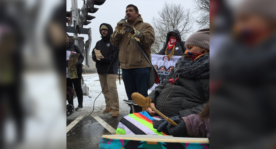 Protesters march on Pall Mall Street in London, Ont. on Friday, Feb. 28, 2020. (Bryan Bicknell / CTV London)
