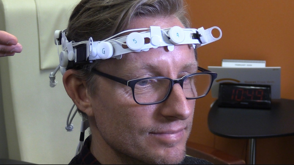 The 'cognalyzer,' a portable EEG being used in a study to test cannabis impairment, is seen in London, Ont. on Friday, Feb. 28, 2020. (Celine Zadorsky / CTV London)