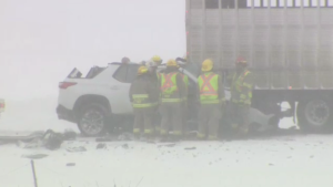 Fire officials crowd around an SUV that was involved in a serious crash in Mapleton.