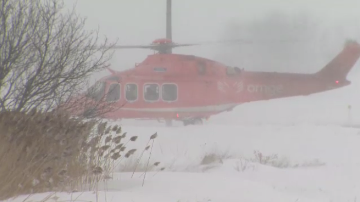 Ornge air ambulance in the snow