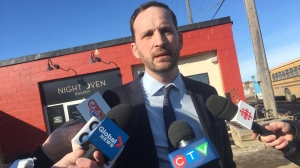 NDP leader Ryan Meili speaks to reporters in Saskatoon on Feb. 28, 2020. (Alessandra Carneiro/CTV Saskatoon)