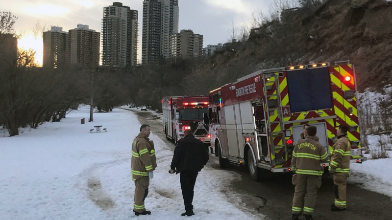 Emergency crews were in the river valley on Friday after a body was found on the river. (Galen McDougall/CTV News Edmonton)