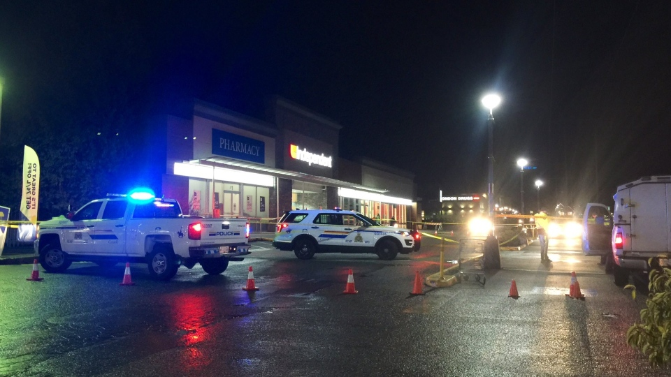 Mounties in Squamish are investigating after two people were hit by a vehicle in the parking lot in front of the Independent Grocer in their jurisdiction Friday night. (Twitter/@SquamishRCMP)