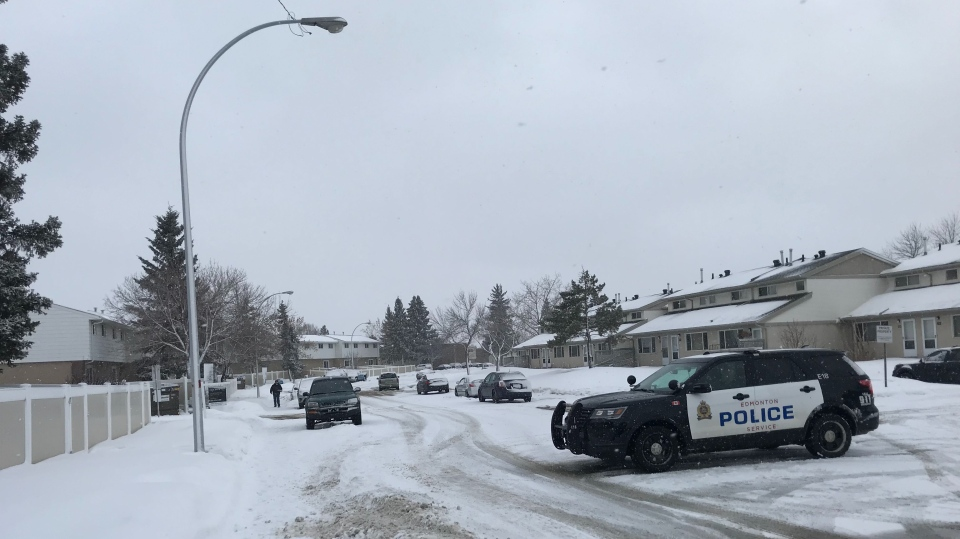 Police presence was seen near a home in the area of Mill Woods Road NW, between 38A Avenue and 37 Avenue on Feb. 29, 2020.