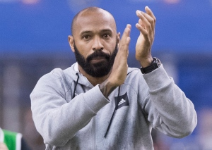 Montreal Impact head coach Thierry Henry salutes fans following an MLS soccer game against the New England Revolution in Montreal, Saturday, February 29, 2020. THE CANADIAN PRESS/Graham Hughes