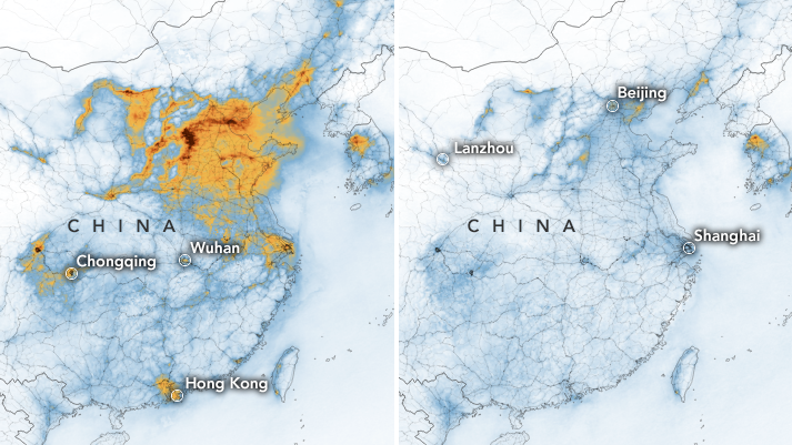 Satellite images provided by NASA show a dramatic decrease in the pollution hanging over China thanks, in part, to the economic slowdown prompted by the COVID-19 outbreak. (NASA)