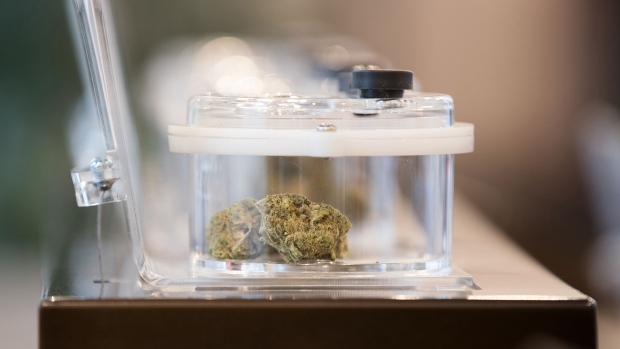 Cannabis on display is seen during a media tour of a cannabis store in Kingston, Ont., Sunday, March 31, 2019. THE CANADIAN PRESS/Lars Hagberg