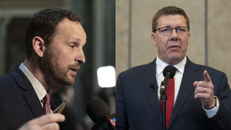 Saskatchewan Opposition Leader Ryan Meili (left) and Saskatchewan Premier Scott Moe (right). Photos by Michael Bell and Adrian Wyld of THE CANADIAN PRESS