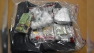 Drugs and cash seized in a massive co-ordinated drug bust in southwestern Ontario. (Source: London Police Service)