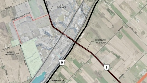 The area highlighted in green on the map shows the landfill in Zorra Township, Ont. proposed by Walker Environmental.