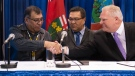 Ontario Premier Doug Ford shakes hands with Chief Cornelius, Wabasse Webequie First Nation, left, and Chief Bruce Achneepineskum, Marten Falls First Nation, centre, after signing a new deal in the ring of fire in Northern Ontario at the Prospectors and Developers Association of Canada's annual convention in Toronto on Monday, March 2, 2020. (Nathan Denette/The Canadian Press)