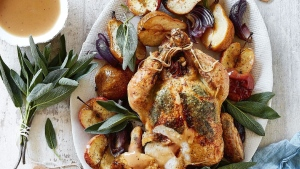 Roasted Chicken With Apple Herb Stuffing