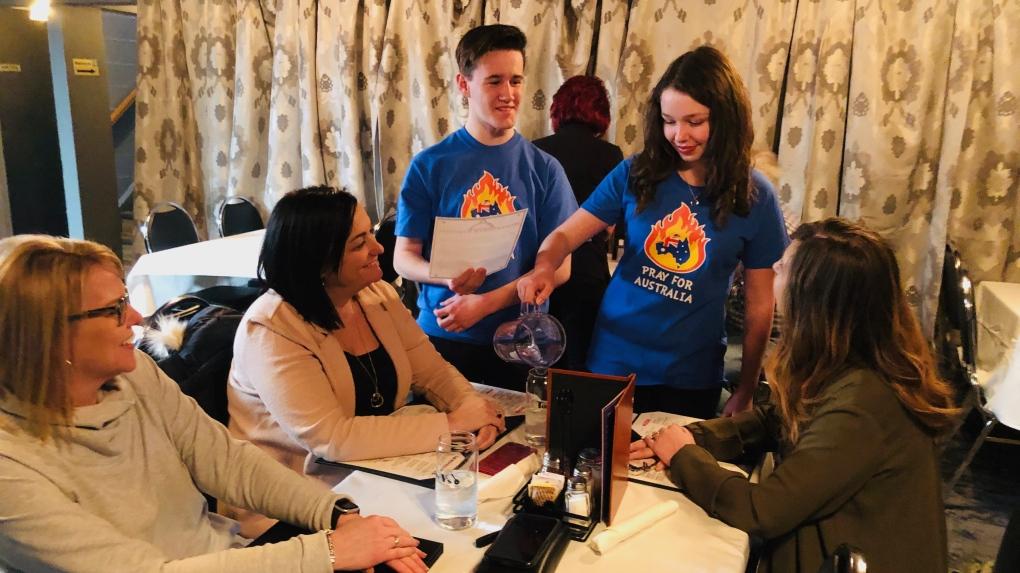 Sudbury students wait tables to help Australians