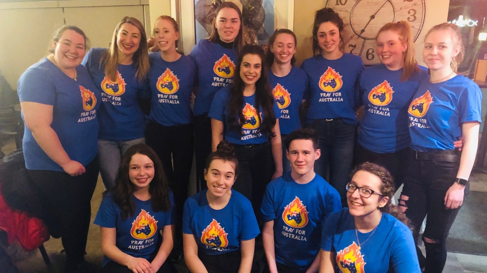 Student senate members from all four Sudbury Catholic secondary schools helped wait tables at Tony V's restaurant to raise money for Australian wildfire relief. (Sudbury Catholic District School Board)
