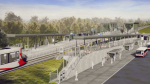 An updated proposed design for Bowesville Station on the Trillium Line, correcting flaws pointed out by the Stage 2 LRT technical evaluation. (SNC-Lavalin, via City of Ottawa)
